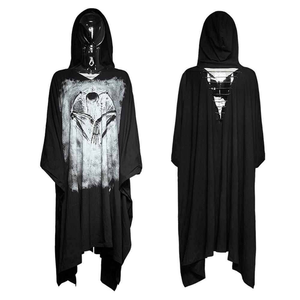 150ab2e89cc2 PUNK Women Rock Long T Shirt Dresses Bat Sleeve Gothic Black Bone Ghost  Halloween Cape Dresses at Amazon Women's Clothing store: