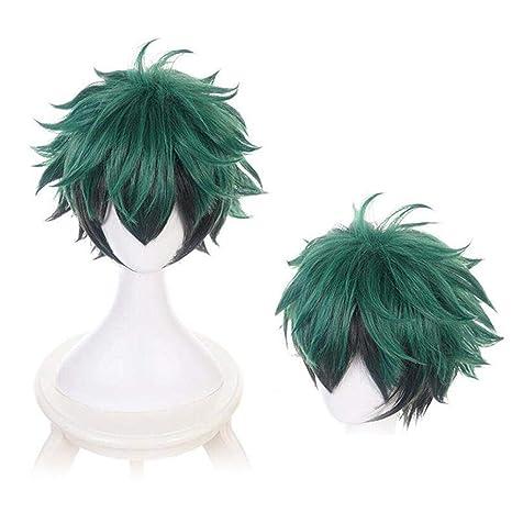Anime My Hero Academia Deku Izuku Midoriya Cosplay Wig Gradient Green Black Hair