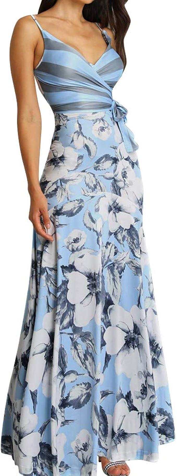 Oksea Sommerkleider Damen Ärmellos V Ausschnitt Strand Blumen Kleider  Abendkleid lang Damen Blumen Kleid Ärmellos V Ausschnitt Kleider Lange  Kleid