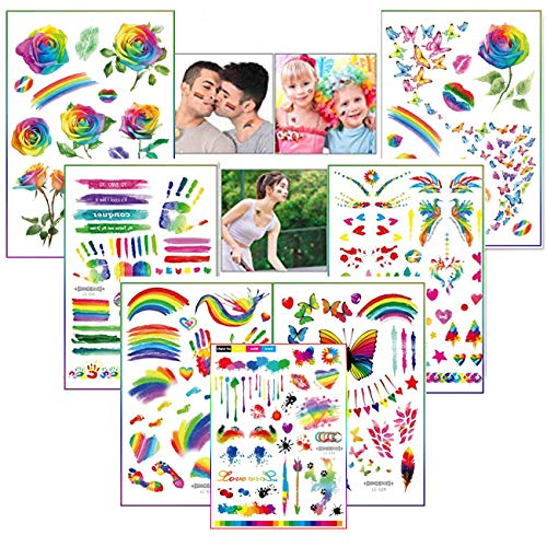 9 Sheets Rainbow Tattoos Rainbow Stickers Temporary Waterproof Tattoos for Pride Parades and Celebrations
