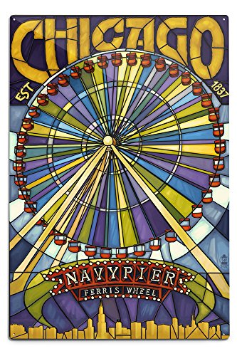 Chicago, Illinois - Navy Pier and Ferris Wheel (12x18 Aluminum Wall Sign, Wall Decor Ready to Hang)