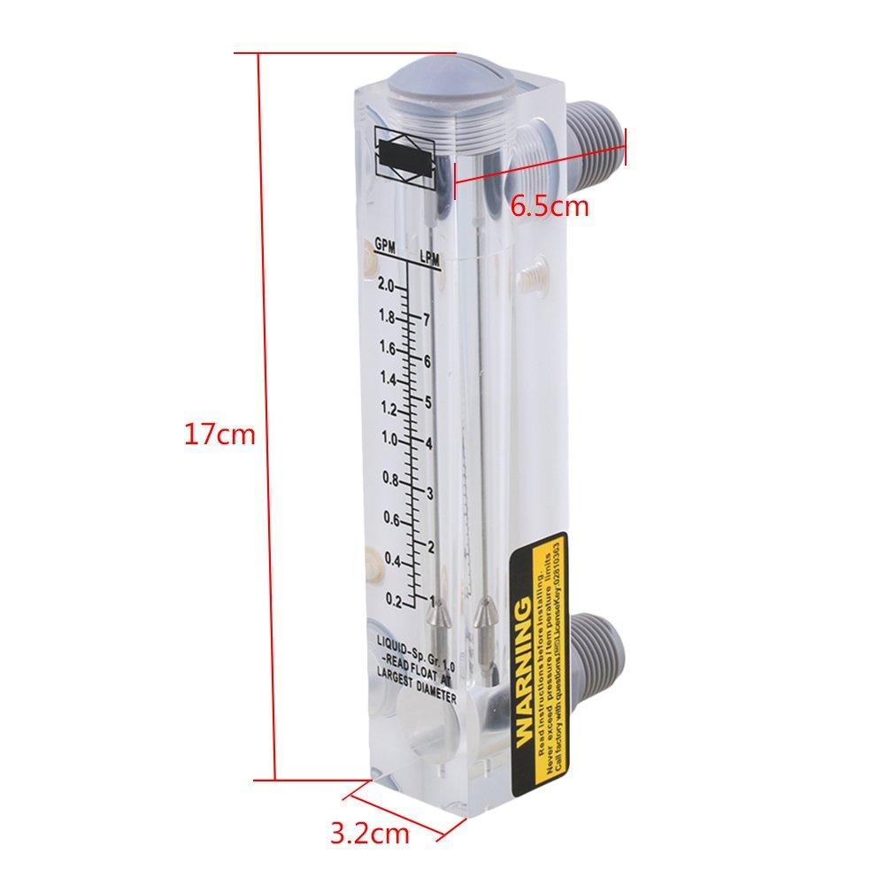 LZM-15 0.2-2GPM//1-7LPM Panel Typ Durchflussmesser f/ür Fl/üssiges Wasser