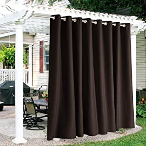 RYB HOME Patio Curtains Outdoor - Waterproof Outdoor Privacy Curtain Thermal Isulated Blackout Drapery for Porch Arbor Open Door Carport Garden Lawn, Wide 120 x Long 84, 1 Pc, Brown