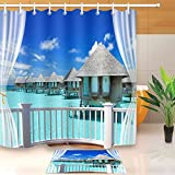 LB Seaside Island Coast Beach House Balcony Children Decoration Shower Curtain Polyester Fabric 3D 72x72'' Mildew Resistant Waterproof Hawaii Cabin Clear Sea Kids Bathroom Accessories Bath Liner Mat