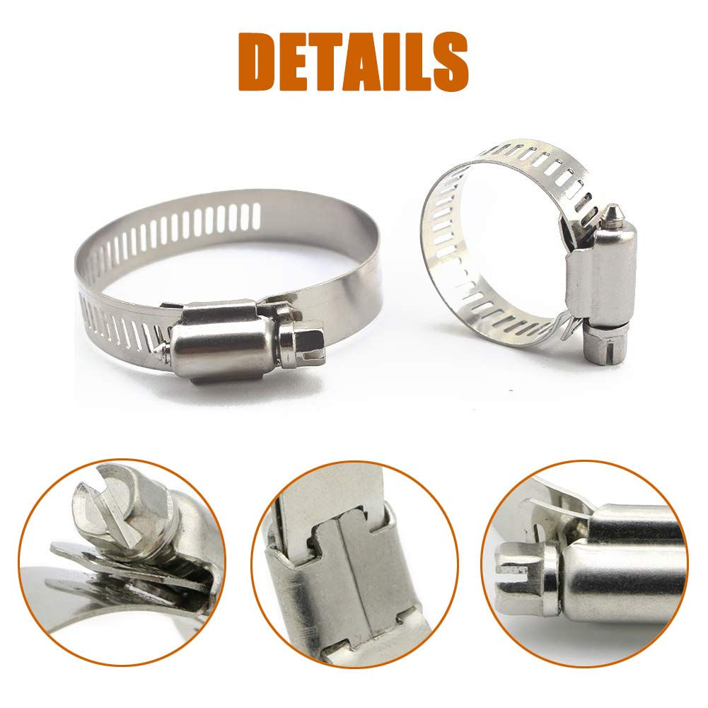 4 Inch ISPINNER 10pcs 304 Stainless Steel 2.5 Inch 105-127mm 5 Inch Worm Gear Hose Clamps Assortment Kit Adjustable Range 40-64mm 78-102mm