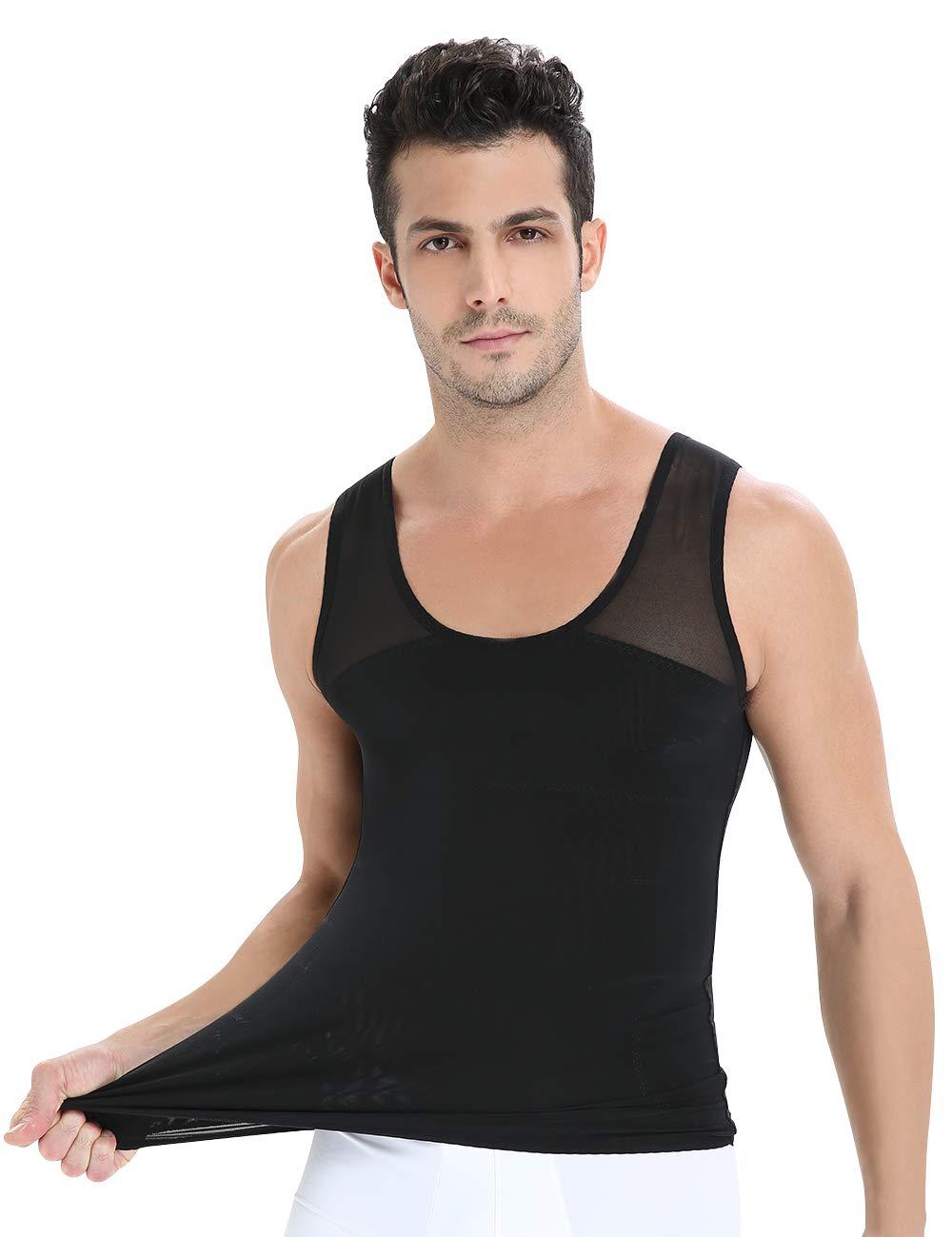 Roacoa Slimming Body Shaper for Men, Tummy Control and Gynecomastia Compression Undershirt (Medium, Black)