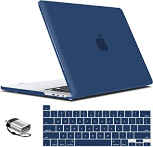 IBENZER MacBook Pro 16 Inch Case A2141 Release 2020 2019, Hard Shell Case with Keyboard Cover & Type C Adapter for Apple Mac Pro 16'' with Touch Bar and Touch ID, Navy Blue, T16NYBL+1TC