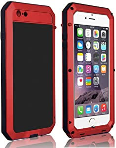CarterLily Shockproof Dustproof Water Resistant Aluminum Armor Full-Body Protection Case for iPhone 6 / iPhone 6S (Red)