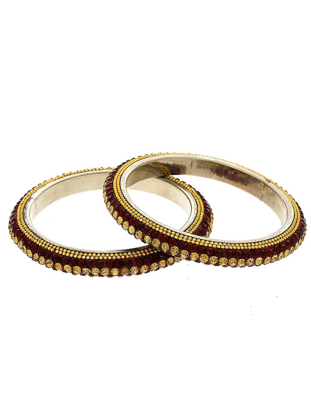 Anuradha Art Maroon Colour Classy Stylish Designer Trendy Look Ethnic Bangles Set for Women//Girls