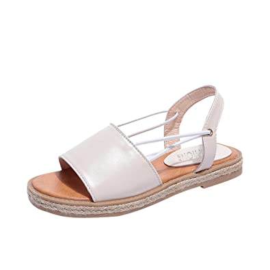 38628686a Wenjuan Women Vintage Rome Charming Sandals Flat Anti Skidding Breathable  Open Toe Summer Beach Shoes (
