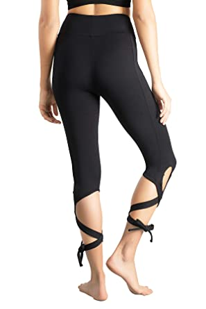 4bd7b3d3f6 Lin Women's Tie Up Yoga Capris Pants High Waist Cutout Yoga Workout Leggings  4 Way Stretch