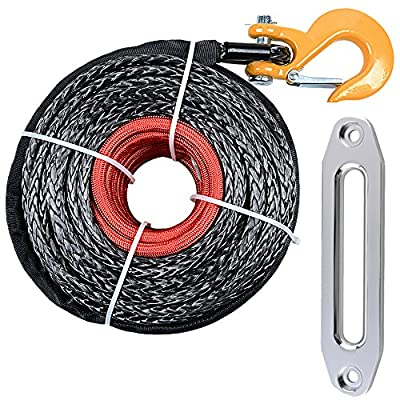 "3/8"" x 95ft Synthetic Winch Rope + Winch Hook + 10"" Hawse Fairlead Car SUV ATV UTV KFI Truck Boat Ramsey"