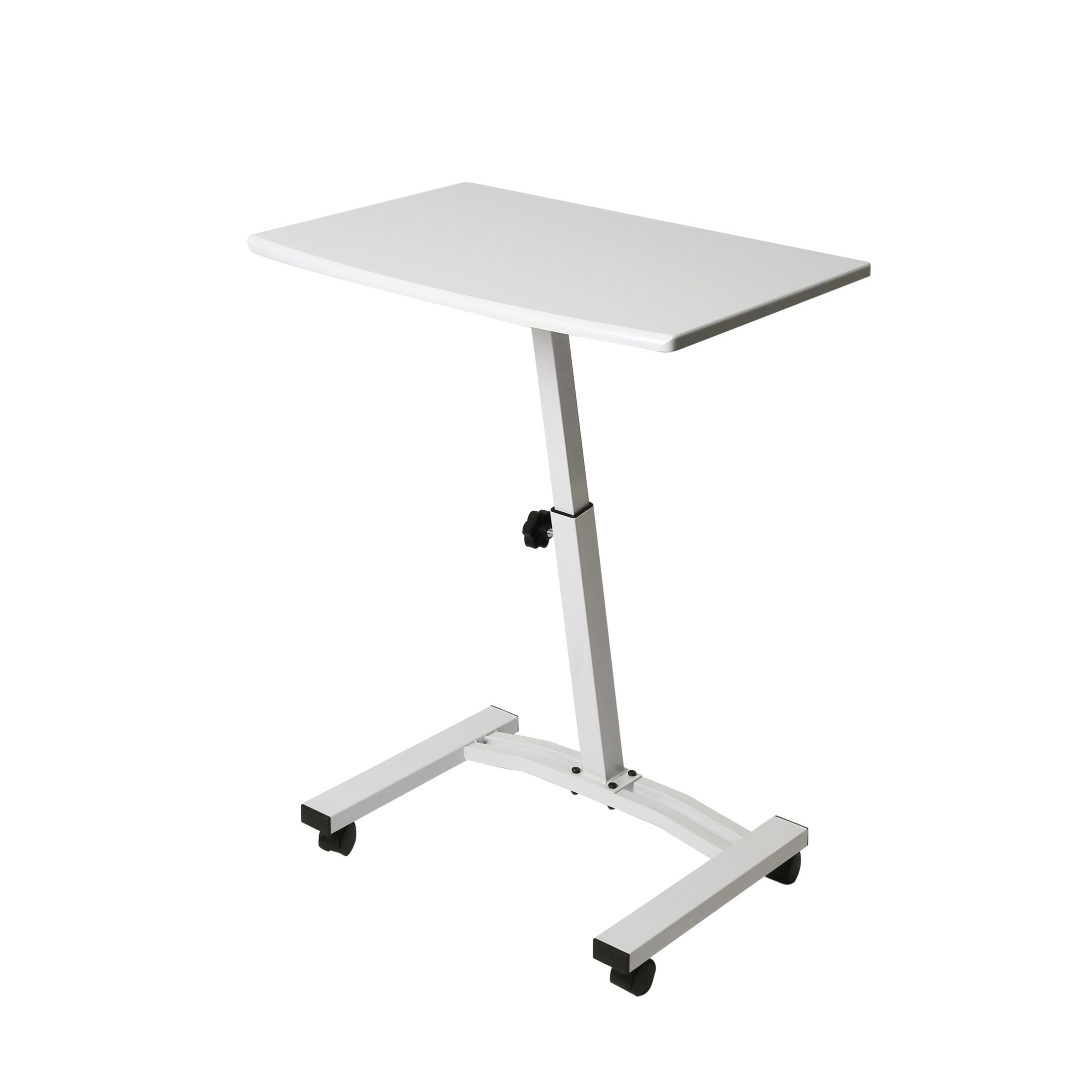 Seville Classics OFF65855 Mobile Laptop Computer Desk Sit Stand, Height-Adjustable from 20.5'' to 33'', White