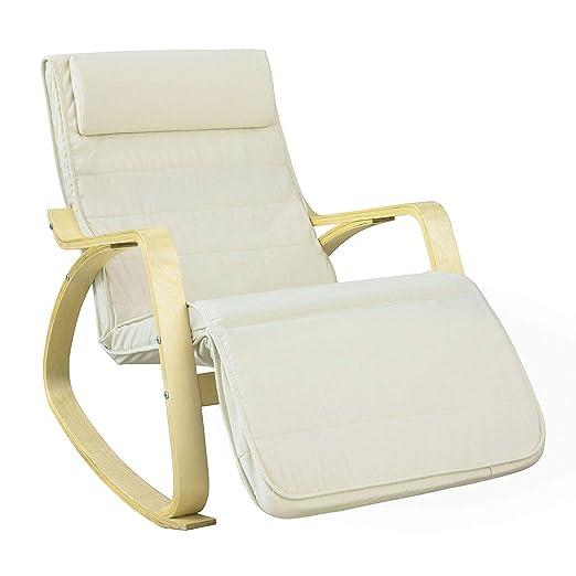 SoBuy Silla de relax, mecedora (reposapiernas ajustable), sillón de relax FST16-W (beige) (Mecedora)