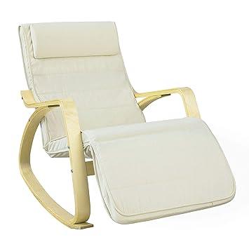 ff720f791 SoBuy Silla de relax, mecedora (reposapiernas ajustable), sillón de relax  FST16-W (beige) (Mecedora): Amazon.es: Hogar