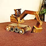 BWLZSP 1PCS New Products Pure Wood Excavator Wood Toy Tank Wheels Home Decorations Gift Ornaments Crafts Lovers Toy WL5300934 (Color : Excavator)