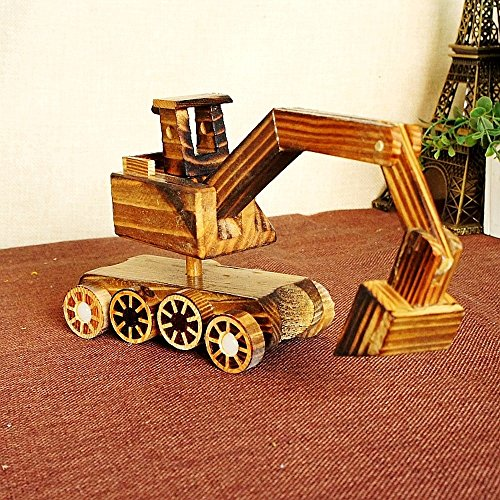 BWLZSP 1PCS New Products Pure Wood Excavator Wood Toy Tank Wheels Home Decorations Gift Ornaments Crafts Lovers Toy WL5300934 (Color : Excavator) by BWLZSP (Image #7)
