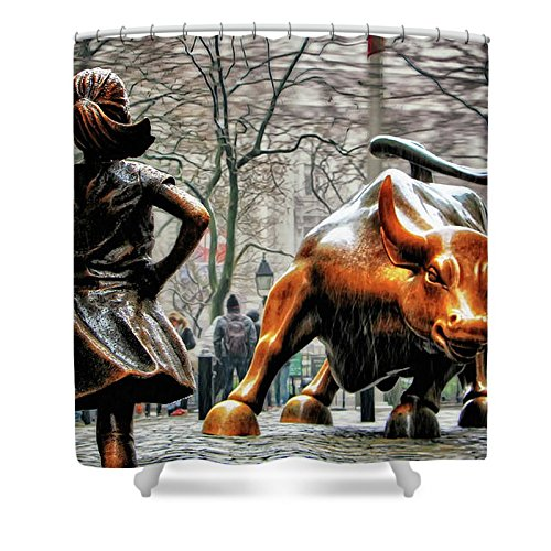 Pixels Shower Curtain (74'' x 71'') ''Fearless Girl And Wall Street Bull Statues''