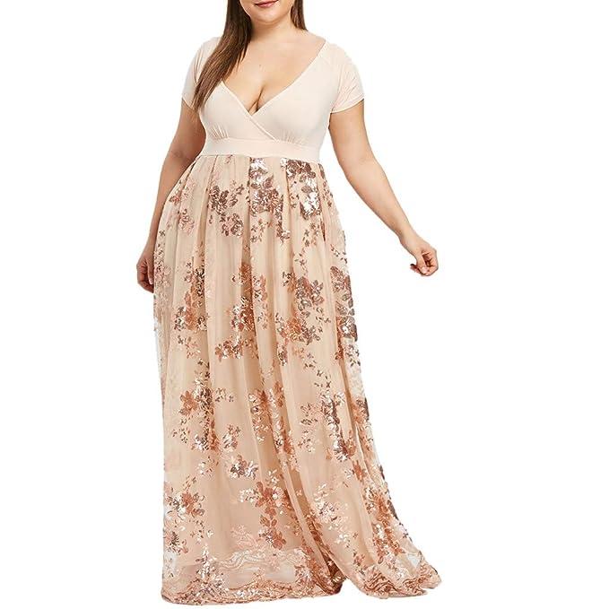 OldSch001 Women Plus Size Dresses, v-Neck Short Sleeve Floral Lace ...