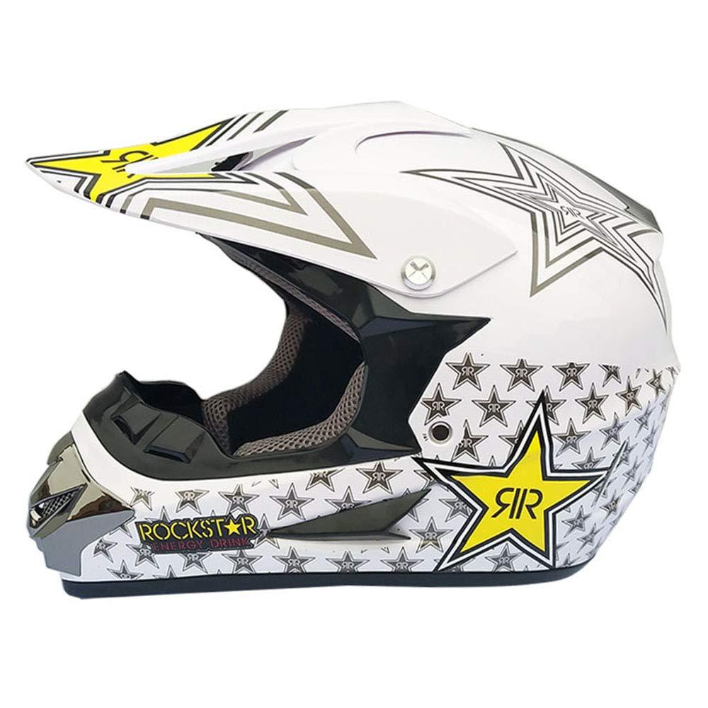 D Medium Wansheng Adulte Hors Route Casque Dot Dirt Bike Motocross VTT Moto Tout-Terrain (S, M, L, XL),D,M