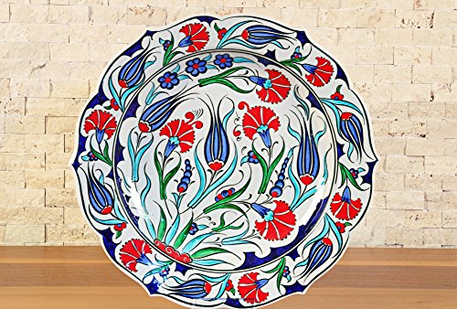 "Handmade Handpainted Turkish Ottoman Ceramic Plate Floral Pattern 12""(30cm) Diameter"