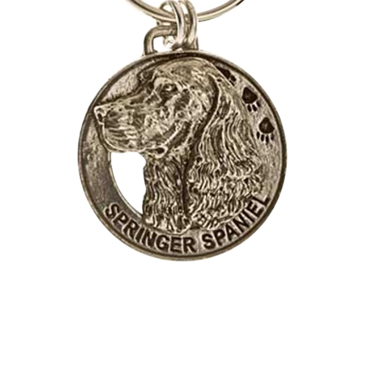 Creative Pewter Designs, Pewter Springer Spaniel Key Chain, Antiqued Finish, DK172