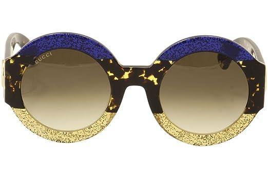 Gucci Damen Sonnenbrille GG0084S 002, Blau (Bluee/Brown), 51