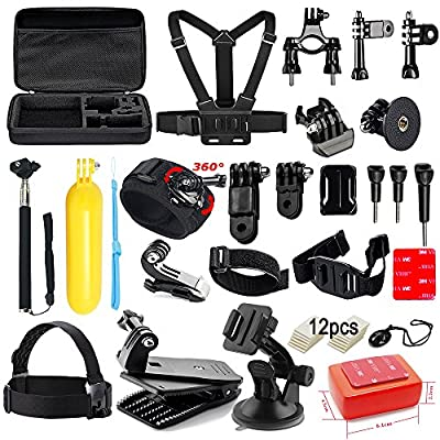 Soft Digits Accessories Kit for GoPro Hero 5 4 3+ 3 2 1 Session Accessory Bundle Set for Action Camera SJ4000 SJ5000 SJ6000 Xiaomi Yi-Flotation Handle+Head Strap+Octopus Tripod+Chest Strap(44 Items)