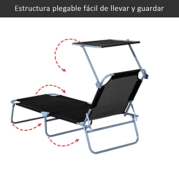 Outsunny Tumbona Hamaca Plegable con Parasol Inclinable Playa Piscina 187x58x27 cm Acero Negro