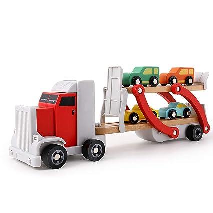 Amazon.com: Juguete de madera brillante para camión con 4 ...