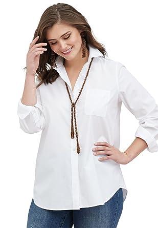 59bbcf68b33 Roamans Women s Plus Size The Boyfriend Shirt at Amazon Women s Clothing  store