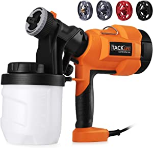 Paint Sprayer, High Power HVLP Home Electric Spray Gun,Adjustable Valve Knob, Quick Refill Lid,4 Nozzle Sizes-TACKLIFE SGP15AC