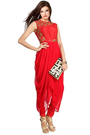Mishka Women s Georgette Fabric Based Beautiful Indo-western Dress Small -  34 quot  Multicolor 723cdafba
