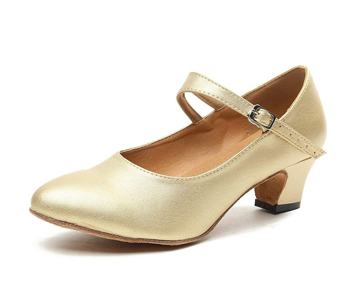 HhGold GL245 Damen Mary Jane Style Leder Leder Leder Niedriger Absatz Latin Social Prom Dance Pumps (Farbe   Gold-5cm Heel, Größe   3 UK) dca683