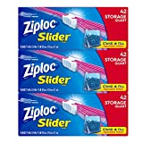 Ziploc Slider Storage Bags, Quart, 3 Pack, 42 ct