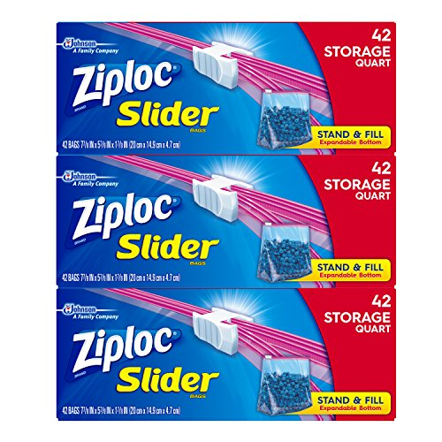 Ziploc Slider Storage Bags, Quart, 3 Pack, 42 ct (Base Quart)