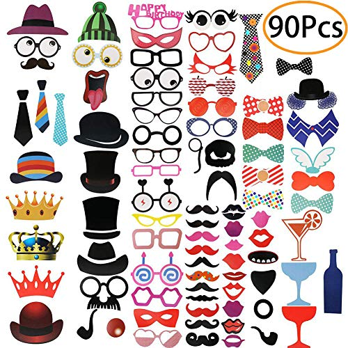 90pcs Party Photo Booth Props Party Supplies Favors for Birthday, Wedding, Graduation, Baby Shower, Bridal Shower, Bachelorette, Halloween, Christmas, Selfie Props, Fun Prop Kit]()