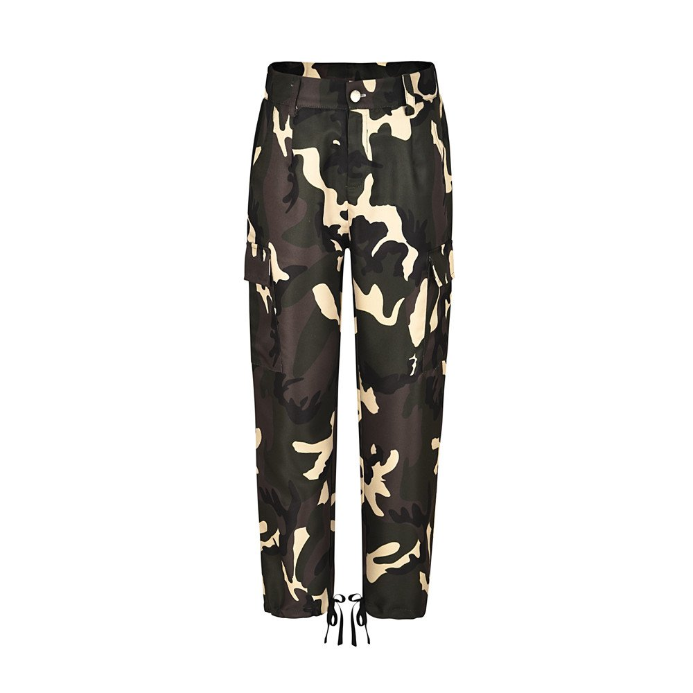 Clearance Women's Camouflage Camo Jogger Pants Casual Loose High Waisted Cargo Trousers Plus Size S-3XL (Small, Yellow)