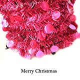 Collapsible Christmas Trees-YuQi Tinsel Artificial Tree With Stand 5 Foot Tall For Home Decoration (Dark pink)