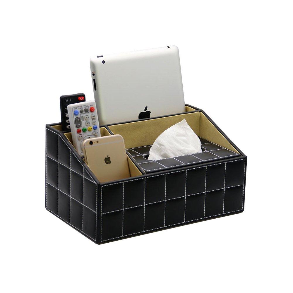 CMFLOWER Desktop Organizer PU Leather Desk Storage Box Multifunctional Car Home Office Supplies Accessories Holder