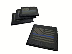 Police Thin Blue Line Distressed American Flag Slate Coaster Set