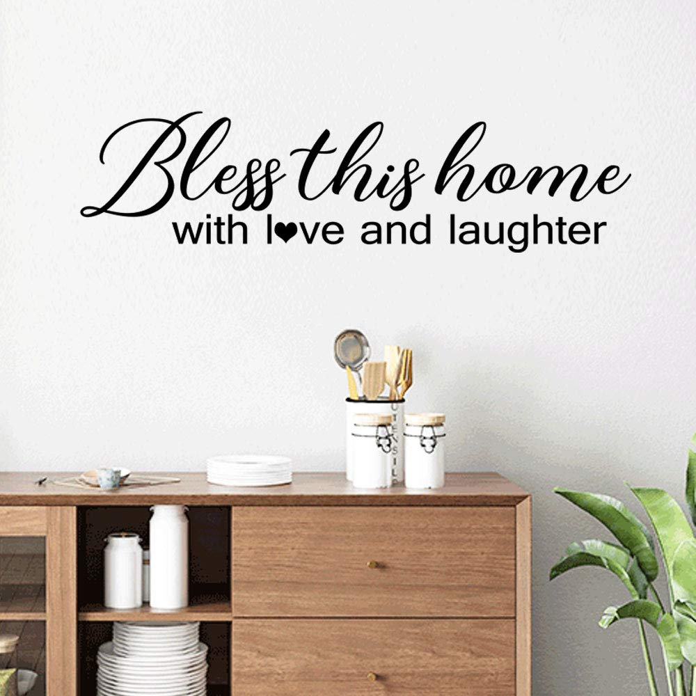 "Bless Our Home With Love Laughter vinyl wall quotes home decor entry 24/"" x 6/"""
