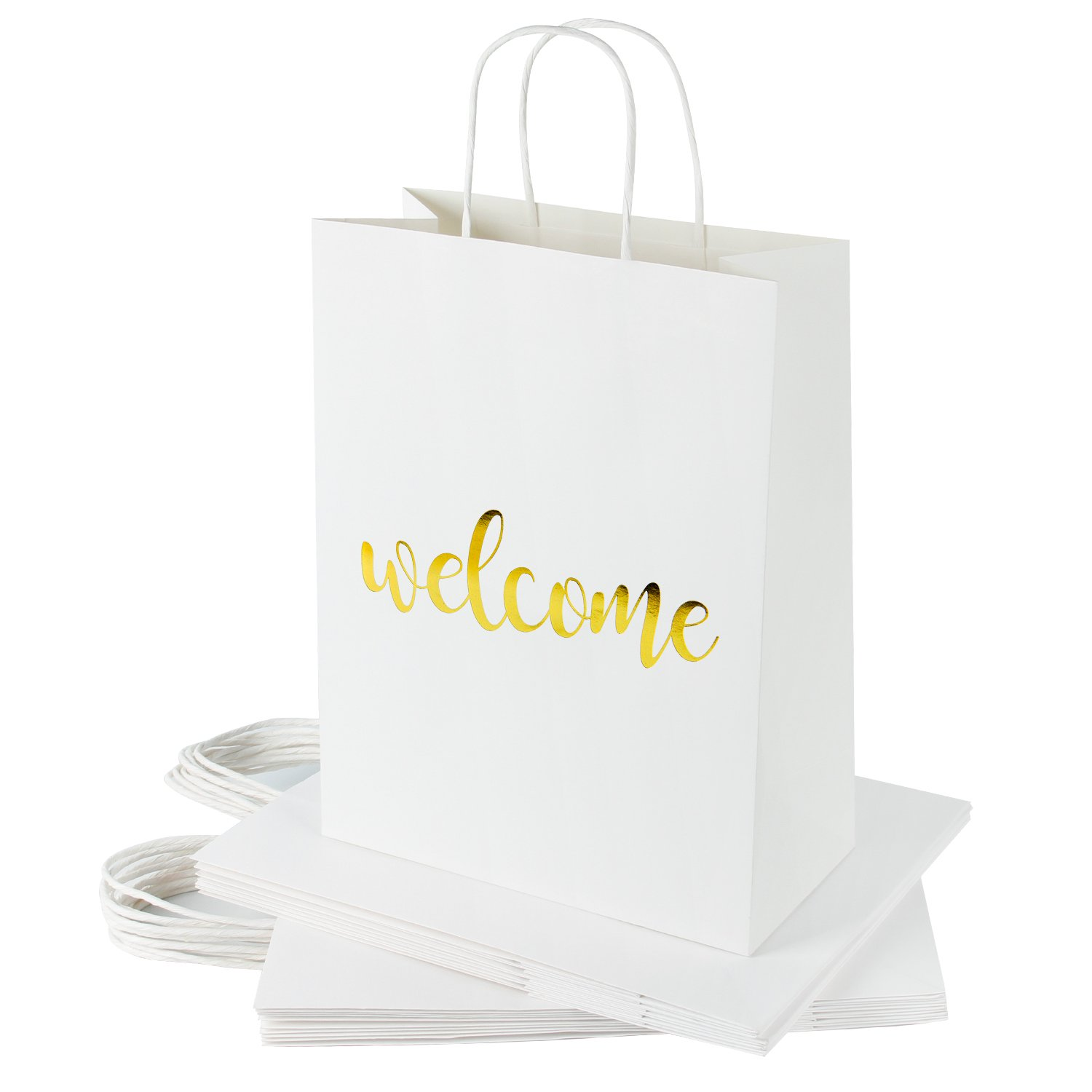 RUSPEPA Welcome Kraft Gift Bags -Gold Foil White Paper Gift Bag Set for Wedding,Birthday Present-12Pack -10'' X 5'' X 13''