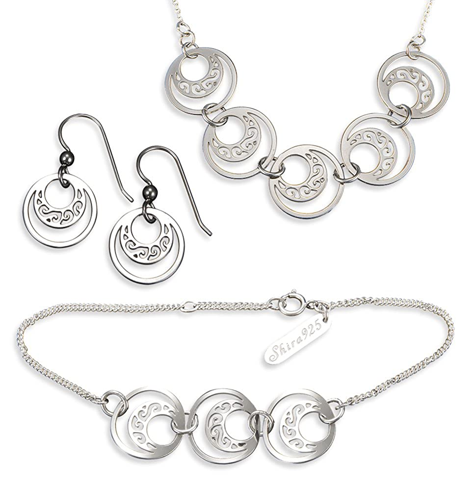 Necklace and Bracelet Crescent Links Sterling Silver Jewelry Set Earrings
