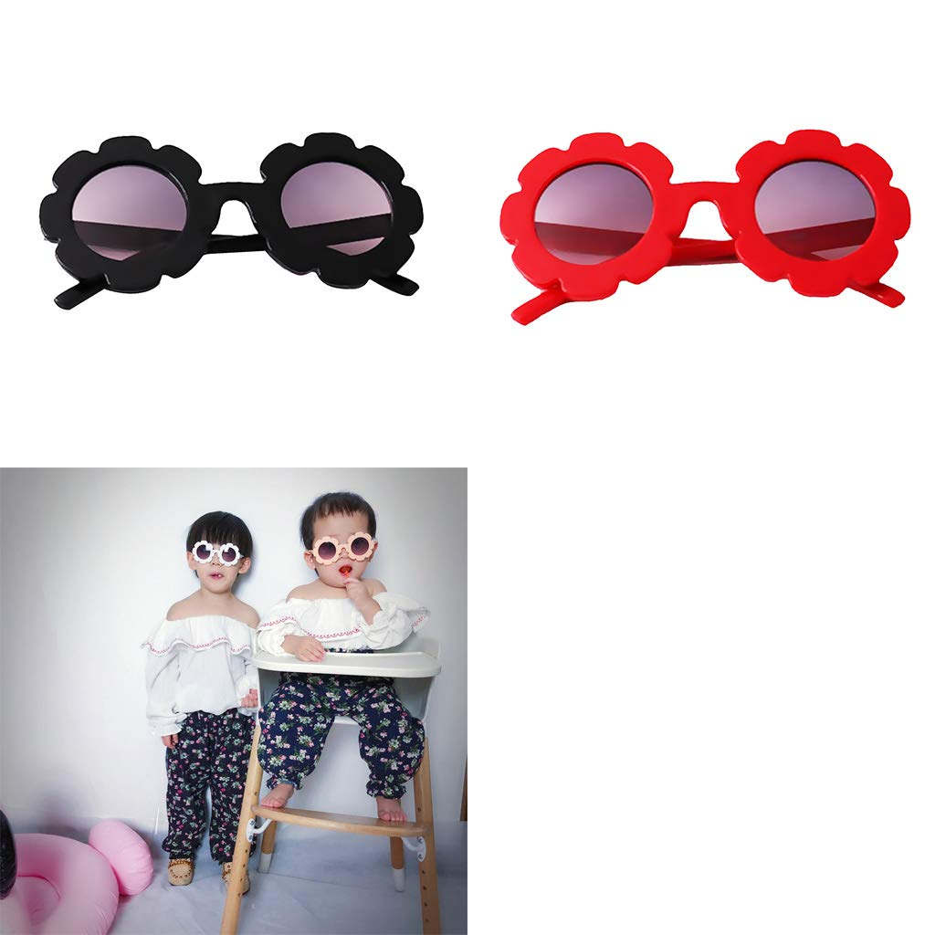 Toddler Black and Kids UV Protection Red kesoto 2PCS First Sunglasses for Baby