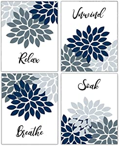 Relax Soak Unwind Breathe Bathroom Wall Decor Art Painting Picture Farmhouse Bathroom Wall Art Poster Canvas Quotes Wall Art Prints for Relax Sign Bathroom Decor Set of 4 (8