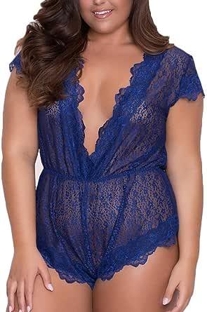 Lenfesh Lencería Erotica Mujer Talla Grande, lencería Atractivo de Dormir erótica Ropa Interior Bodysuit Translúcido (5XL, Azul)