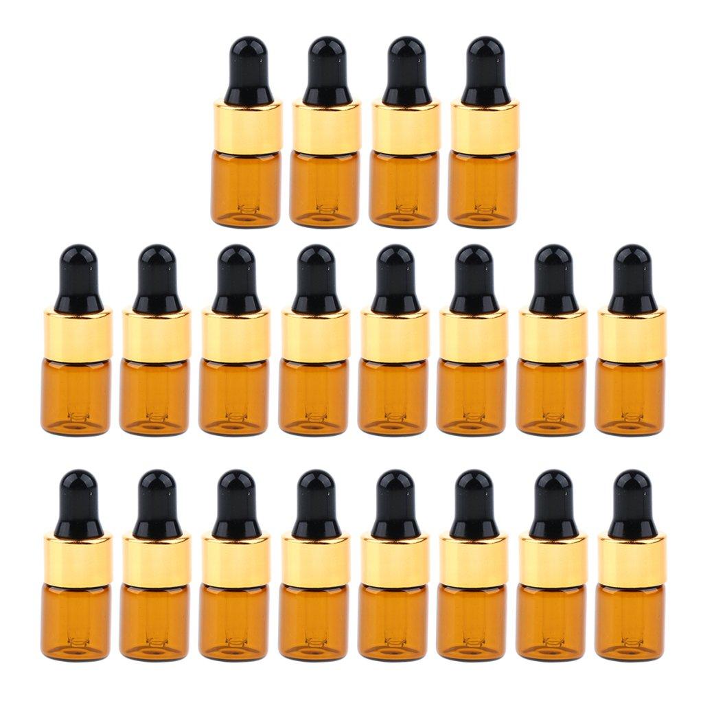 Sharplace 20 Unidades Cajas Botellas de Vidrio Espray rellenables para Perfume Aceite esencial Belleza de Marrón - marrón 1ml non-brand