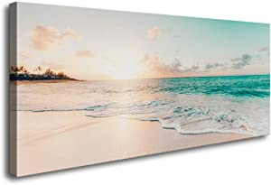 S73850 Wall Art Canvas Prints Beach Sunset Ocean Waves Nature Pictures Painting Canvas Paintings Ready to Hang for Home Decorations Wall Decor