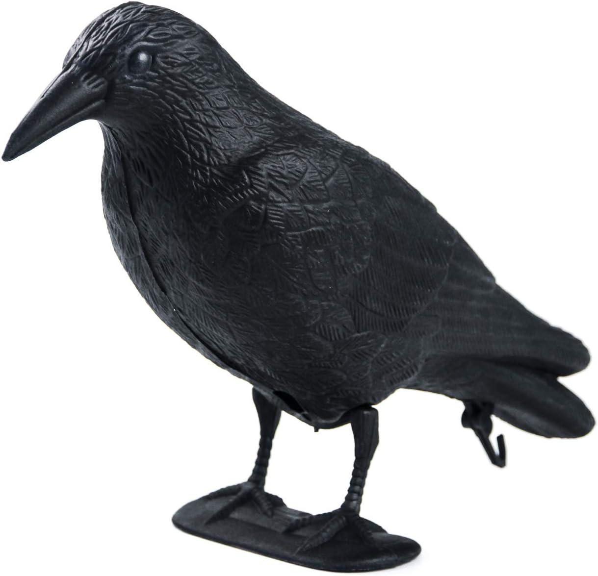 GUGULUZA Stand Full Body Flocking Crow Decoy Hunting Plastic Black Crow Decoys Hallows's Day Decor w/Feet Stake,Garden Decoration